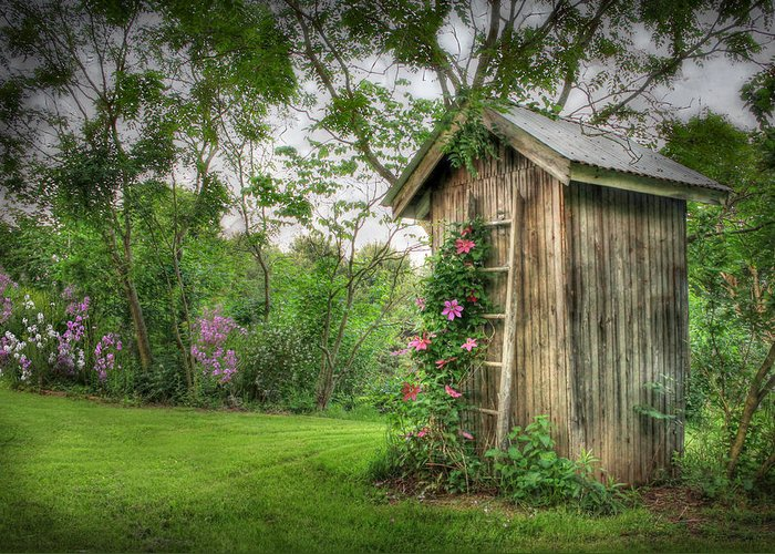 Outhouse Greeting Card featuring the photograph Fragrant Outhouse by Lori Deiter