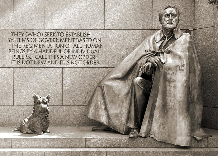 Landmarks Greeting Card featuring the photograph Franklin Delano Roosevelt Memorial - Bits And Pieces 7 by Mike McGlothlen
