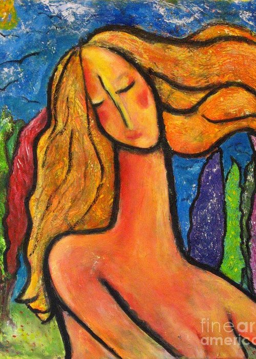 Woman Greeting Card featuring the painting Freedom by Chaline Ouellet