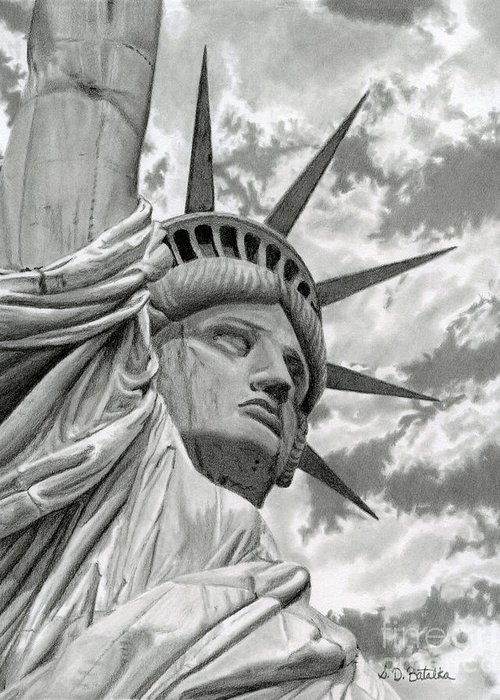Statue Of Liberty Greeting Card featuring the drawing Freedom by Sarah Batalka