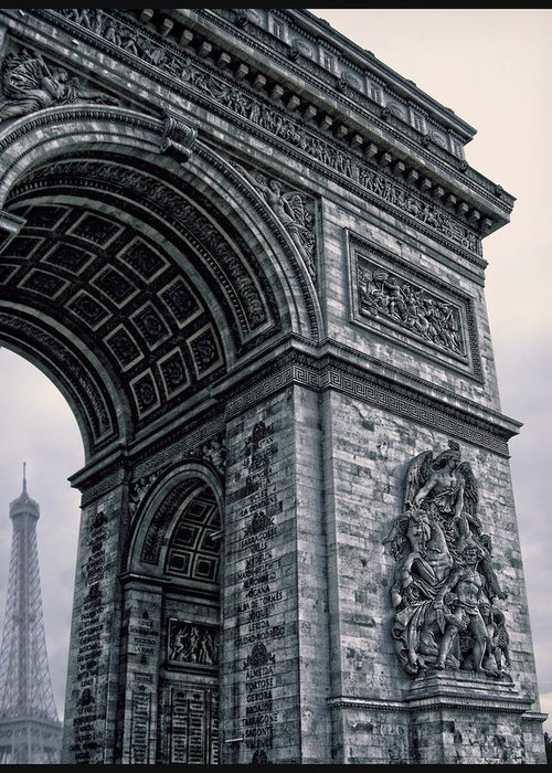 The Eiffel Tower Greeting Card featuring the photograph French - Arc De Triomphe And Eiffel Tower II by Lee Dos Santos