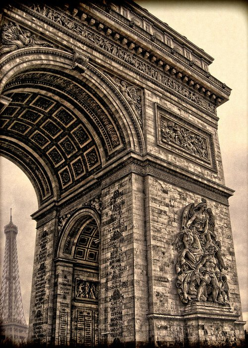 The Eiffel Tower Greeting Card featuring the photograph French - Arc De Triomphe And Eiffel Tower IIi by Lee Dos Santos