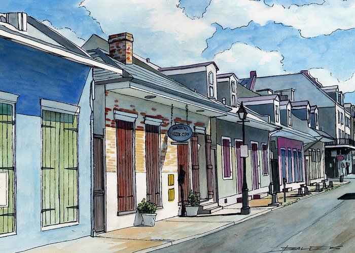 New Orleans Greeting Card featuring the painting French Quarter Street 211 by John Boles