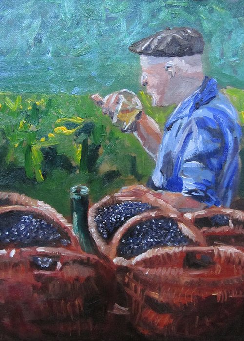 Landscape Greeting Card featuring the painting French Vineyard Worker by Kendal Greer