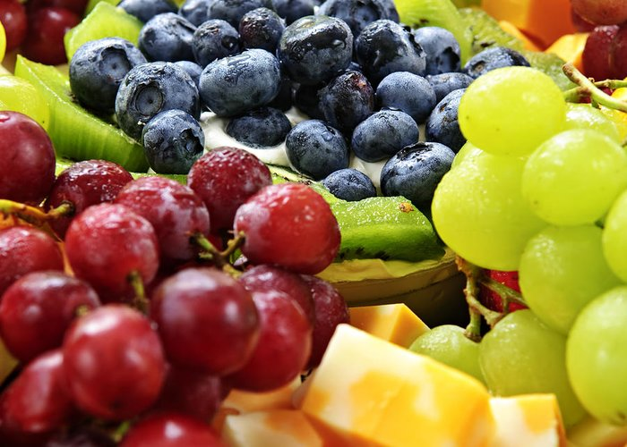 Fruit Greeting Card featuring the photograph Fresh Fruits And Cheese by Elena Elisseeva