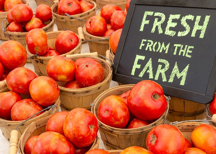 Brown Greeting Card featuring the photograph Fresh Tomatoes In Baskets At Farmers Market by Teri Virbickis
