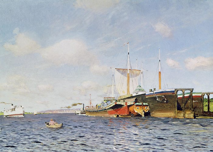 Water; Boats; Tugboat; Ships; Banks; Boat Greeting Card featuring the painting Fresh Wind On The Volga by Isaak Ilyich Levitan