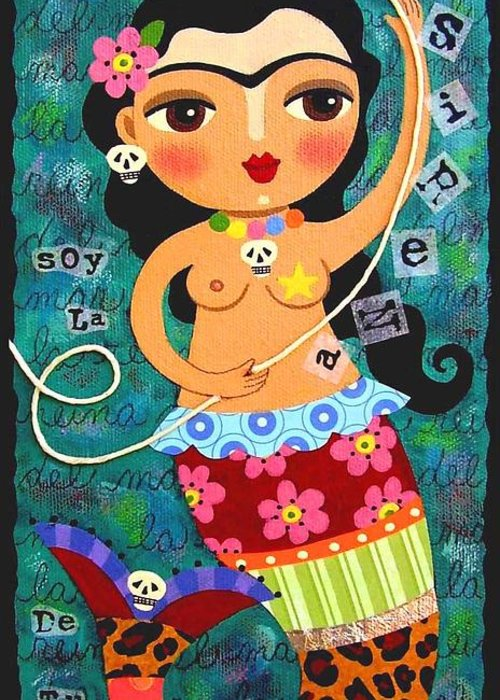 Frida Greeting Card featuring the painting Frida Kahlo Mermaid Queen by LuLu Mypinkturtle