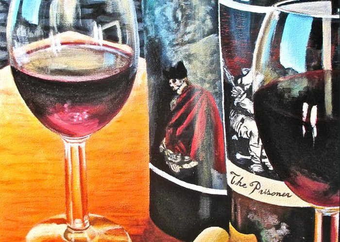 Wine Paintings Greeting Card featuring the painting Friends From Napa by Tim Eickmeier