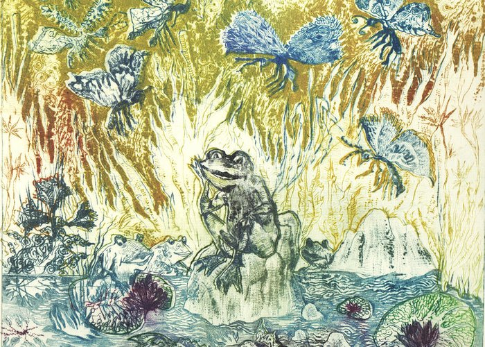 Frogs Greeting Card featuring the drawing Frogs by Milen Litchkov