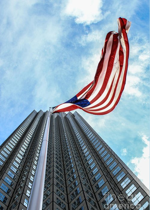 American Flag Greeting Card featuring the photograph From A Different Perspective by Rene Triay Photography