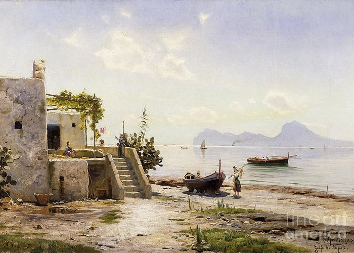 1880s Greeting Card featuring the painting From Sorrento Towards Capri by Peder Monsted