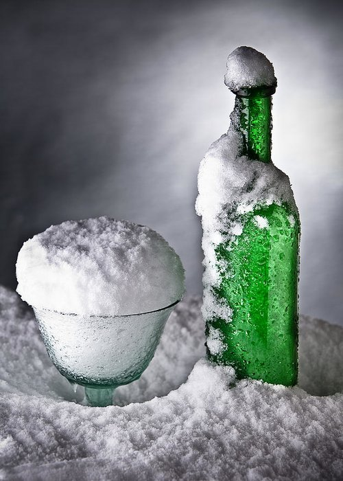 Alcohol Greeting Card featuring the photograph Frozen Bottle Ice Cold Drink by Dirk Ercken