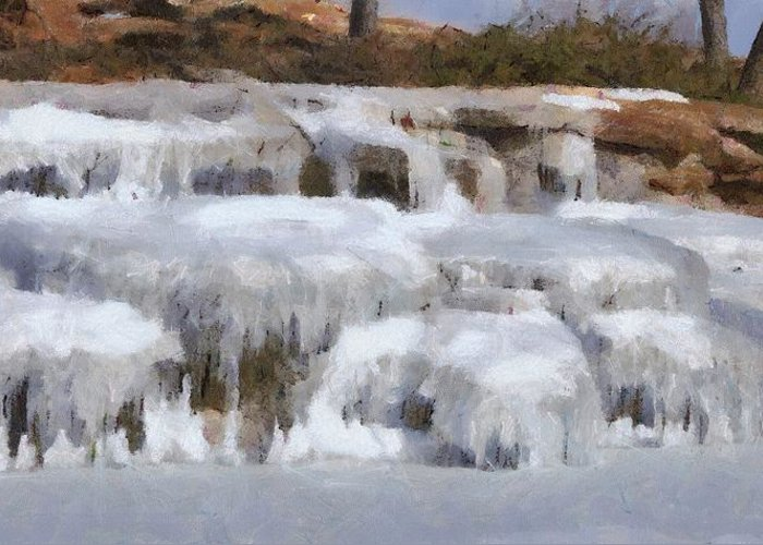 Brown Greeting Card featuring the painting Frozen Falls by Jeff Kolker