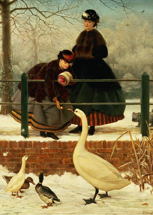 Ducks Greeting Card featuring the painting Frozen Out by George Dunlop Leslie