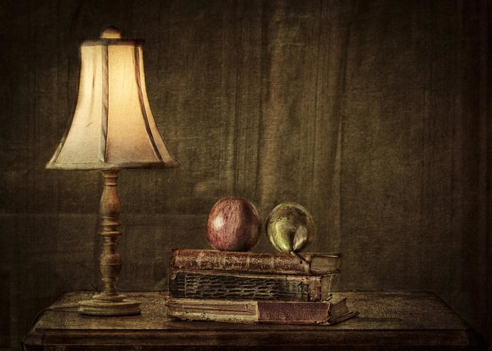 Apple Greeting Card featuring the photograph Fruit And Books by Erik Brede