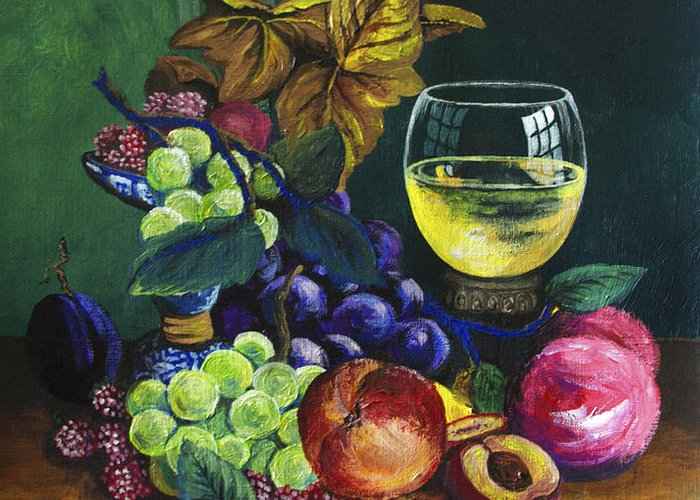 Fruit And Wine Greeting Card featuring the painting Fruit And Wine by Karon Melillo DeVega