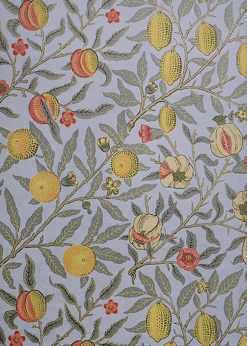 William Greeting Card featuring the tapestry - textile Fruit Design 1866 by William Morris