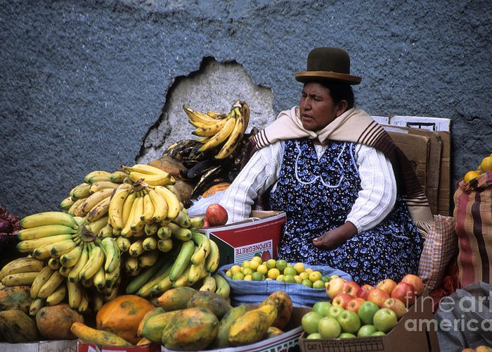 South America Greeting Card featuring the photograph Fruit Seller by James Brunker