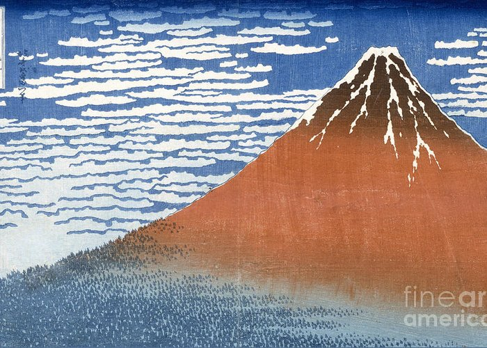 Japan Greeting Card featuring the painting Fuji Mountains In Clear Weather by Hokusai
