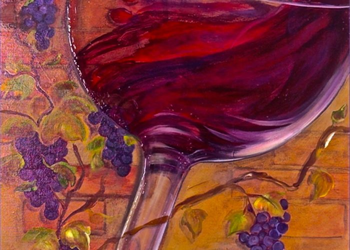 Wine Greeting Card featuring the painting Full Body by Debi Starr