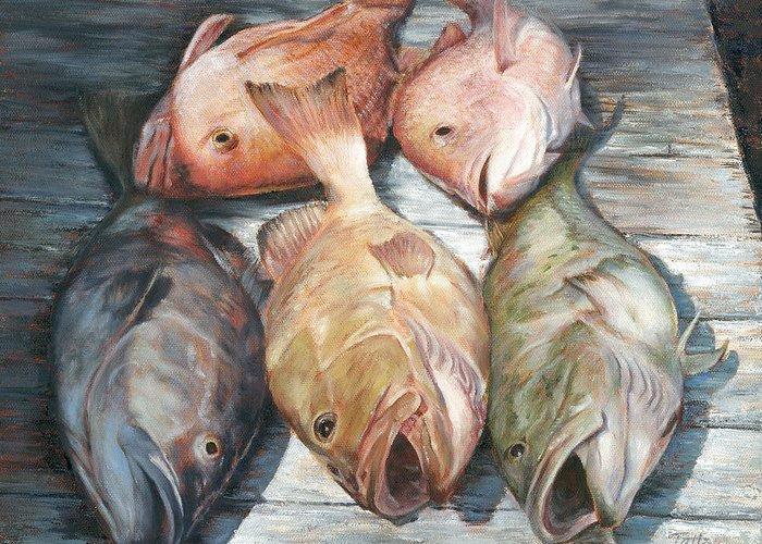 Grouper Greeting Card featuring the painting Full House by Pam Talley