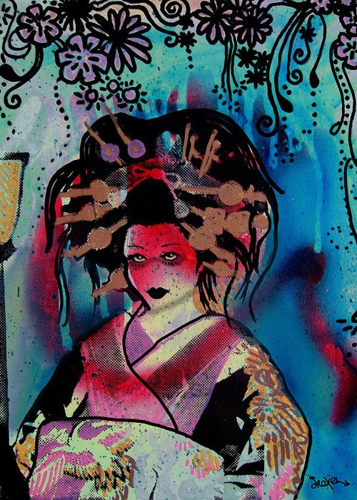 Geisha Greeting Card featuring the painting Fumiko by dreXeL