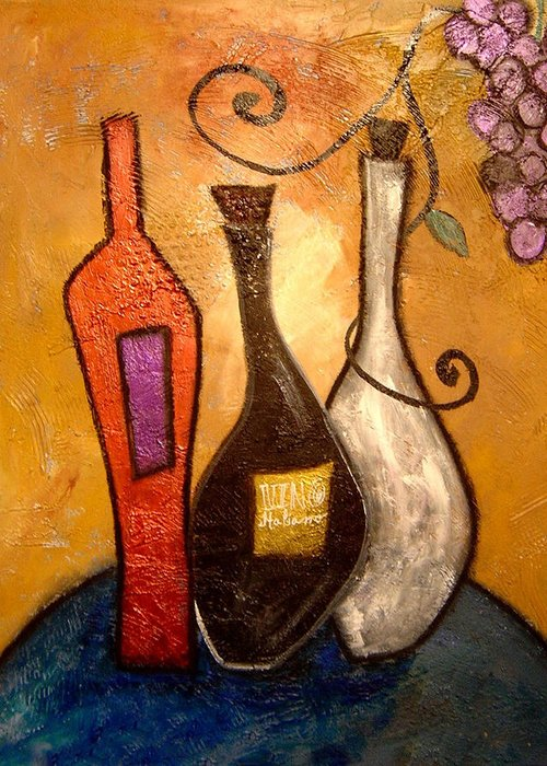 Colorful Abstract Prints Greeting Card featuring the painting funky Vino 10 by Gino Savarino