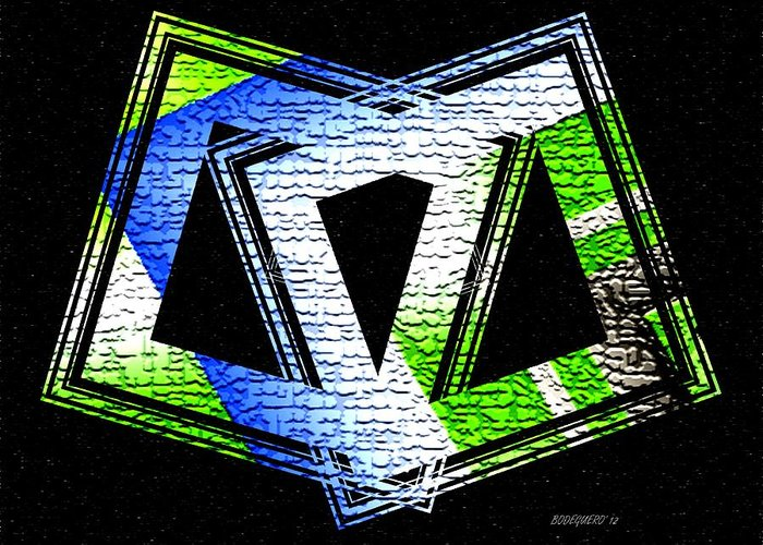 Geomtric Digital Art Greeting Card featuring the digital art Fusion In Geometric Art by Mario Perez