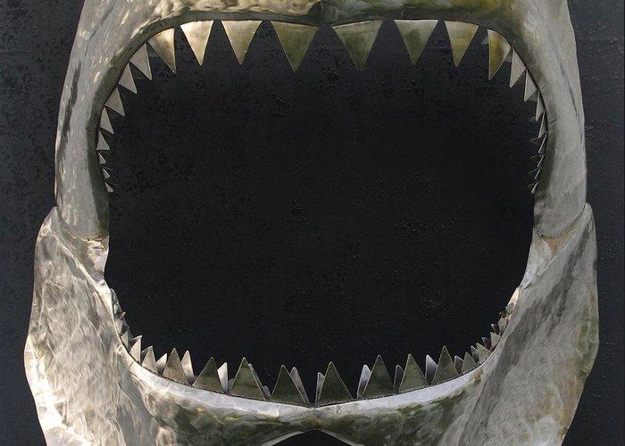 Shark Greeting Card featuring the sculpture Gaint Shark Jaw Sculpture by Stuart Peterman