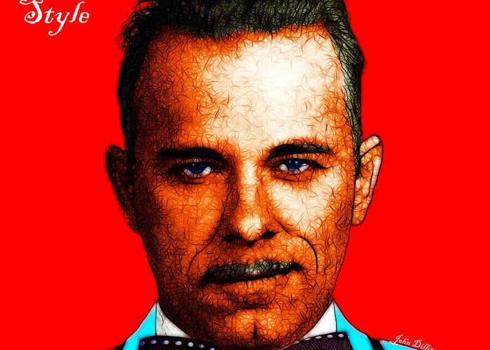 Gangnam Greeting Card featuring the photograph Gangman Style - John Dillinger 13225 - Red - Color Sketch Style - With Text by Wingsdomain Art and Photography