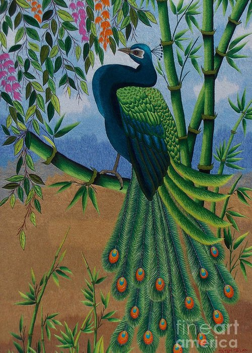 Peacock Greeting Card featuring the tapestry - textile Garden Jewel 1 Hand Embroidery by To-Tam Gerwe