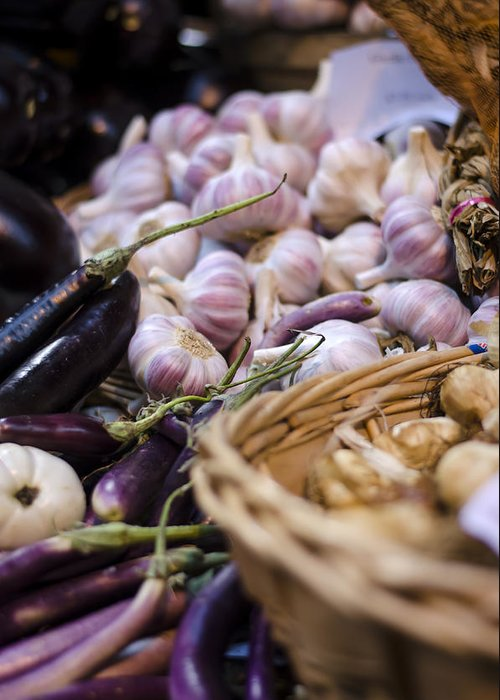 Garlic Greeting Card featuring the photograph Garlic At The Market by Heather Applegate