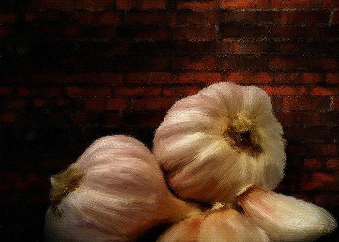 Onion Greeting Card featuring the digital art Garlic by Lourry Legarde