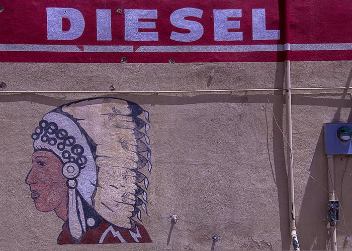 Indian Greeting Card featuring the photograph Gas Station Indian Chief by Garry Gay