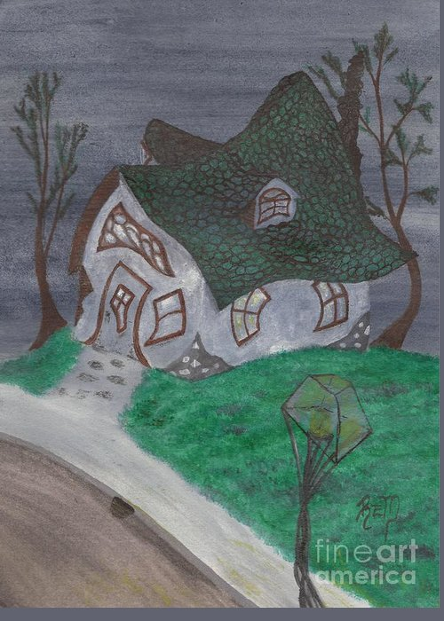 Gaslight Greeting Card featuring the painting Gaslight Whimsy by Robert Meszaros