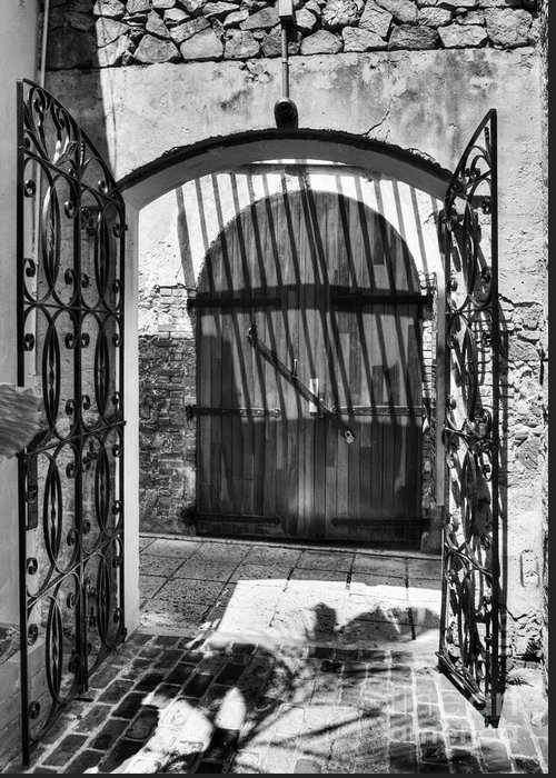 Charlotte Amalie Greeting Card featuring the photograph Gates Of Saint Thomas 2 Bw by Mel Steinhauer