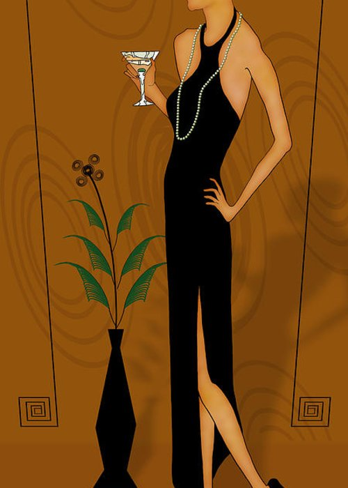 Gatsby Girl Greeting Card featuring the drawing Gatsby Girl by Troy Brown