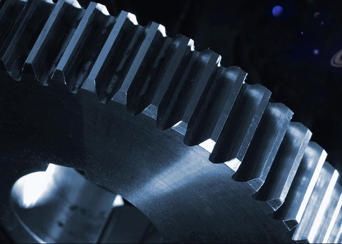 Gears Greeting Card featuring the photograph Gears Engineering In Space by Christian Lagereek
