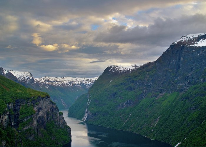 Geiranger Greeting Card featuring the photograph Geirangerfjord Sunset by Benjamin Reed