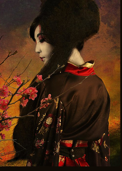 Geisha Greeting Card featuring the photograph Geisha With Quince - Revised by Jeff Burgess