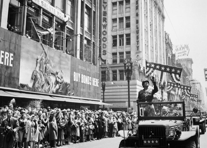 General Patton Greeting Card featuring the photograph General Patton Ticker Tape Parade by War Is Hell Store