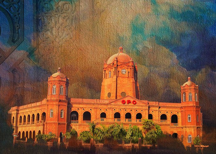 Pakistan Greeting Card featuring the painting General Post Office Lahore by Catf