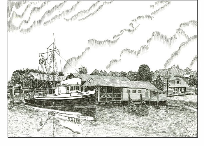 Fishing Boat Stanish Dock Gig Harbor Greeting Card featuring the drawing Genius Ready To Fish Gig Harbor by Jack Pumphrey