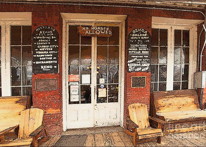 Genoa Saloon Greeting Card featuring the digital art Genoa Saloon Oldest Saloon In Nevada by Artist and Photographer Laura Wrede