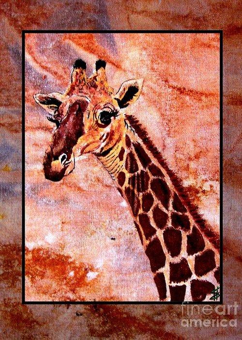 Giraffe Greeting Card featuring the painting Gentle Giraffe by Sylvie Heasman