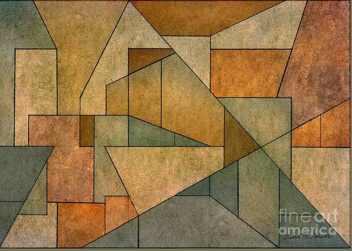Geometric Greeting Card featuring the digital art Geometric Abstraction Iv by David Gordon