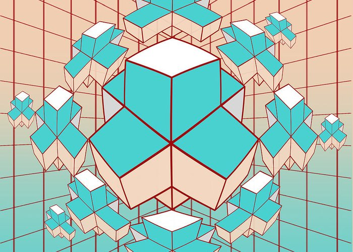 Contemporary Greeting Card featuring the digital art Geometric2 by Mark Ashkenazi