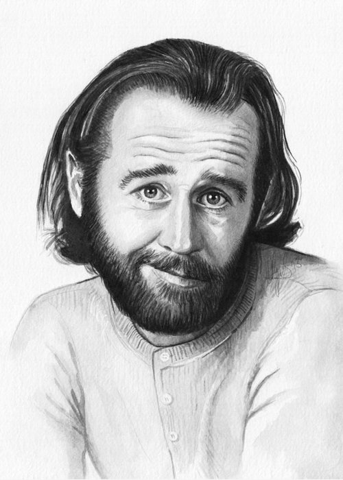 George Carlin Greeting Card featuring the painting George Carlin Portrait by Olga Shvartsur