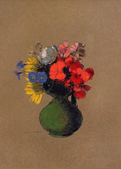 Cornfloer Greeting Card featuring the pastel Geraniums And Flowers Of The Field by Odilon Redon